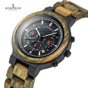Image 2 - BOBO VOGEL Mannen Horloges Gepersonaliseerde Houten Horloge Mannelijke voor Hem Handgemaakte Lichtgewicht Chronograaf Datum Causale relojes militaire