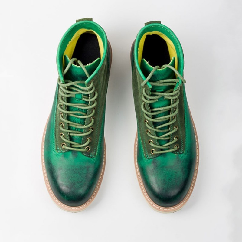 Harajuku Mens Green Printed Genuine Leather Ankle Boots Lace Up Flats Sneakers High Top Work Safety Shoes Fashion Riding Boots