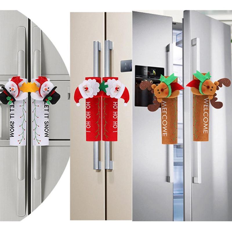 Рождественское украшение на холодильник, дверная ручка, крышка Санта Клауса, снеговика, лося, нетканый материал, для дома, новогодние украшения, подарок
