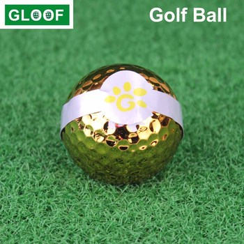 1Pcs Golf Ribbon Ball Special for Opening Ceremony Gift Gold Plated Ball Gold Course Kickoff image