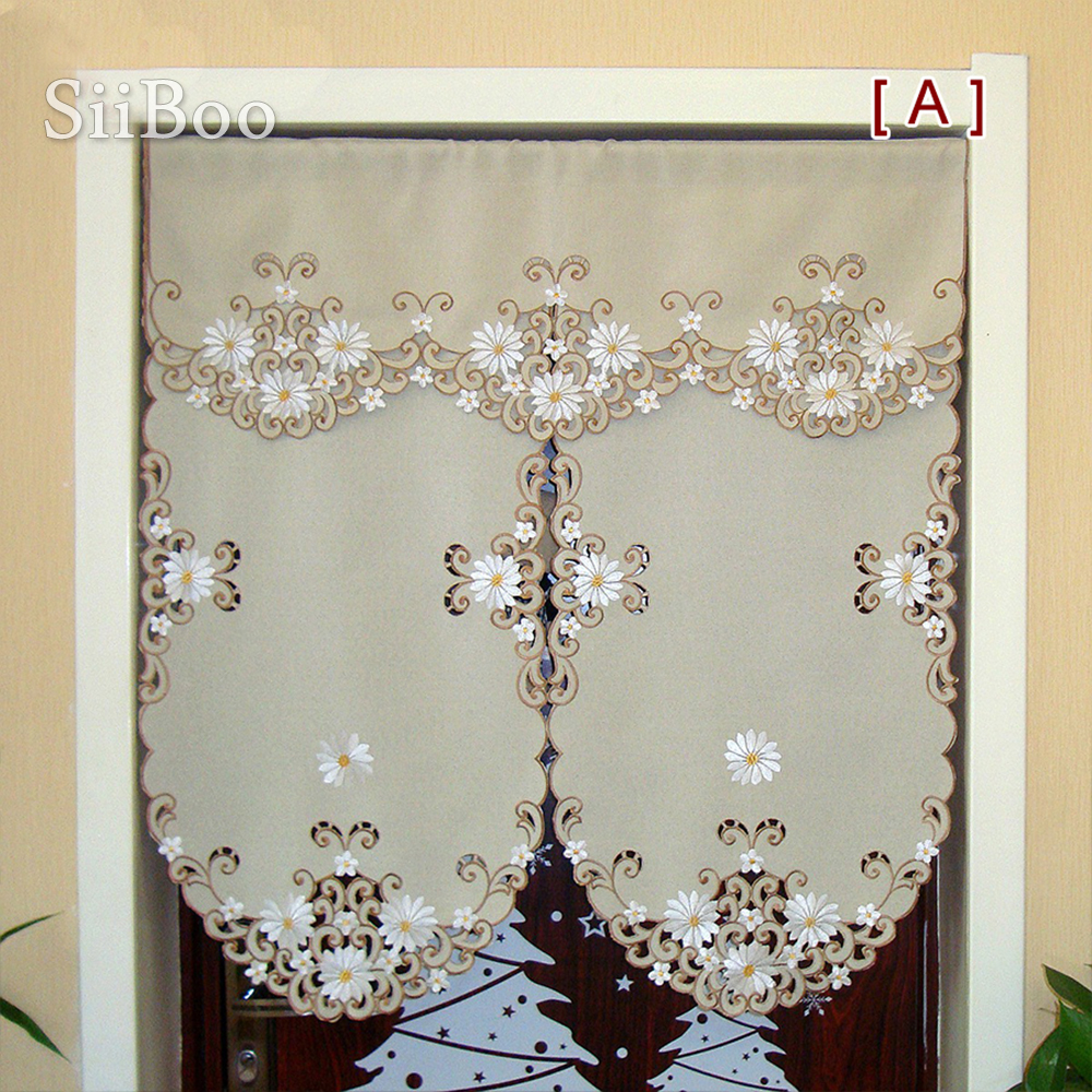 Pastoral style khaki white floral embroidery finished door curtain half-curtain Coffee House decoration Partition curtain SP3483 title=
