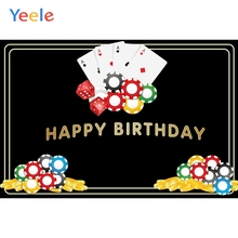 Yeele Casino Las Vegas Card Party Backgrounds For Photo Studio Black Gold Frame Text Happy 40th Birthday Photography Backdrop