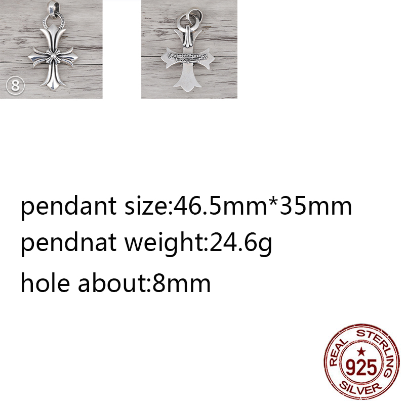 B88 S925 Sterling Silver Pendant Retro Personality Double Cross Letter Shape Wild Pendant Punk Hip-hop Style Gift For Friends
