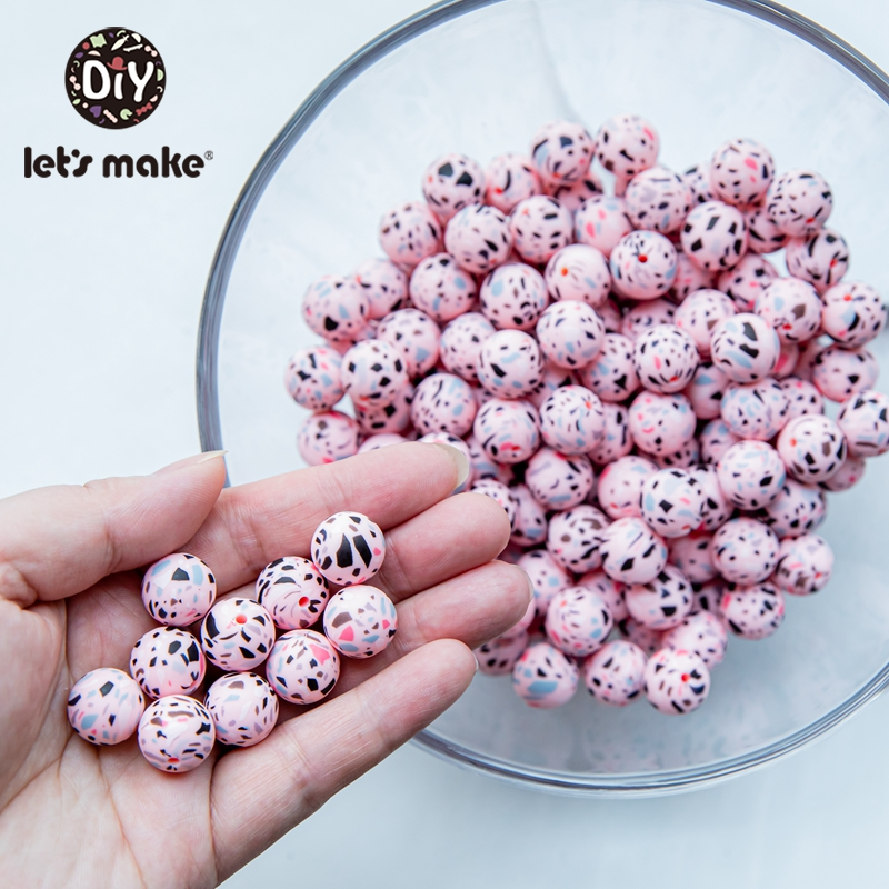 Let's Make 50PC Silicone Bead Food Grade Materials 15mm Teether Round Printing DIY Crafts Baby Teether Safe Rattle Beads