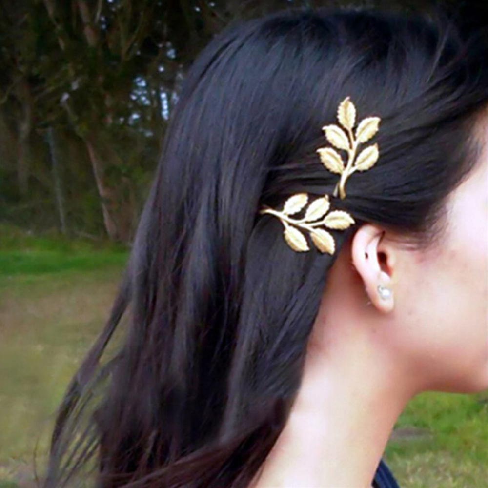 Vintage Hair Clip Olive Branch Leaves Snap Hair Barrette Stick Hairpin Hair Styling Accessories for Women Girls Side Clip