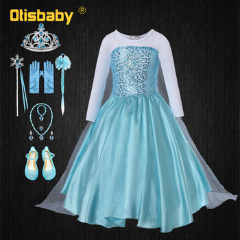 Summer Girls Elsa Dress Halloween Elsa Costume Infant Girl Party Pageant Dresses Fantasia Elsa Elza Long Frocks Children Wig girls elsa elza princess dress kids summer costume with cape children clothes halloween birthday party cosplay fantasia dress