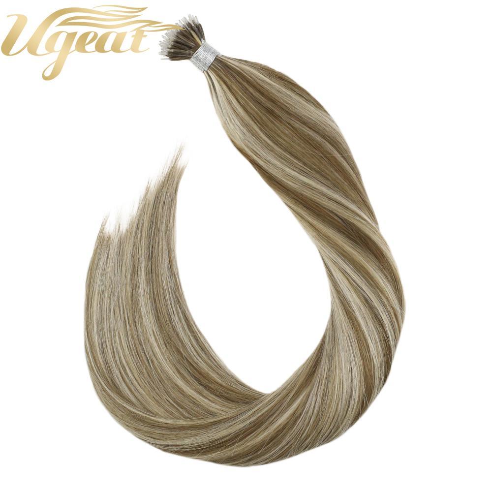 Ugeat Nano Ring Human Hair 50strand/pack 14-24inch 100% Human Hair Machine Remy Hair Silky Straight Nano Tip Real Hair Extension