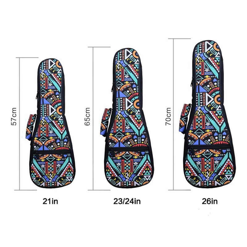 Hot Sale Double Strap Hand Folk Ukulele Carry Bag Cotton Padded Case For Ukulele Guitar Parts Accessories,Blue-Graffiti