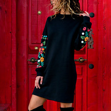 Christmas Casual Dress Sweatshirt Embroidery Long-Sleeve Floral -Autumn Winter Gothic