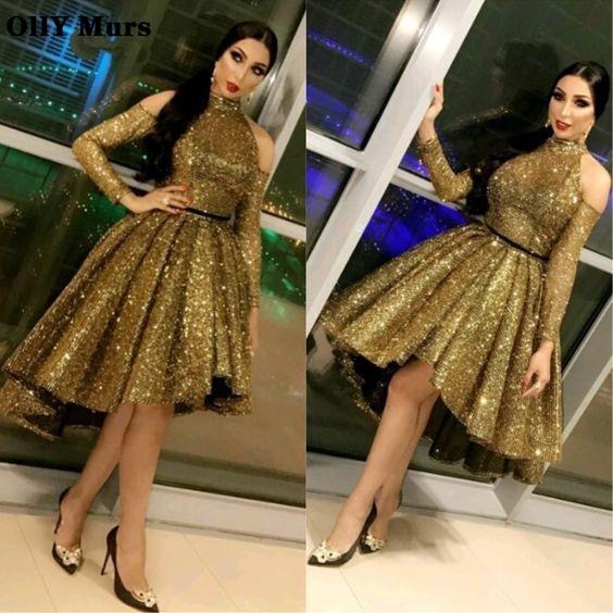 Femmes élégantes robe de Gala formelle grande taille arabe musulman or à manches longues robe courte 2019