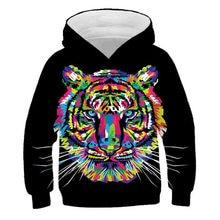 Boys' and girls' fashion casual hooded sweatshirt, 3D cartoon tiger fun personalized printed Hooded Sweatshirt
