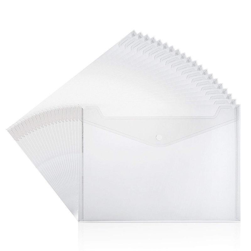 40 Pcs Clear Plastic Waterproof Envelope Folder With Button Closure,Project Envelope Folder, A4 Size