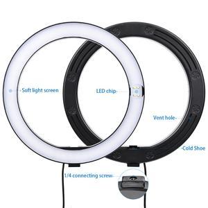 Image 3 - Fosoto 16/26cm תאורת צילום 3200K 5500K Dimmable Led טבעת אור מנורת תמונה סטודיו טלפון וידאו יופי איפור עם חצובה