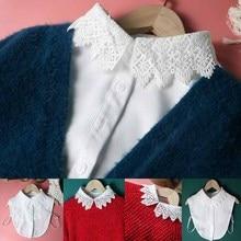 цена на White Tie Shirt Blouse Clothes Accessories Detachable Collar Beautiful Hollow Leaves Peter Pan Fake Collar Women Shirt Blouse
