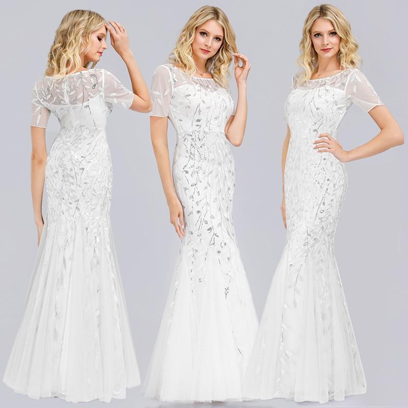 Queen Abby Вечерние платья Русалка с блестками Кружева Аппликации Элегантное Длинное платье русалки платье вечерние платья размера плюс - Цвет: white1