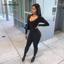 Anjamanor Sexy Sportieve Jumpsuit Vrouwen Zwart Bruin Wit 1 Een Stuk Outfit Activewear Lange Mouw Full Body Jump Suits D70-BE26
