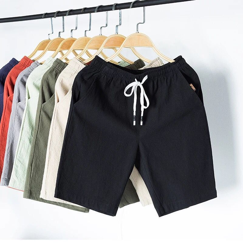 Summer New Style Men Medium Waist With Drawstring Cotton Linen Straight-Cut 5 Pants Large Size Casual Versatile Shorts Men's