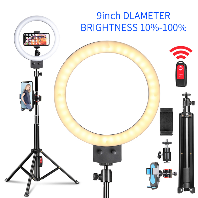 9'' Stepless Dimmable LED Selfie Ring Light For Youtube Camera Makeup Video Live Beauty Light Continuous Lighting