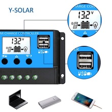 2018 new 30a 12 24v solar regulator charge controller pwm charge mode lcd solar panels genetator voltage current controller 60A/50A/40A/30A/20A/10A 12V 24V Auto Solar Charge Controller PWM Controllers LCD Dual USB 5V Output Solar Panel Regulator