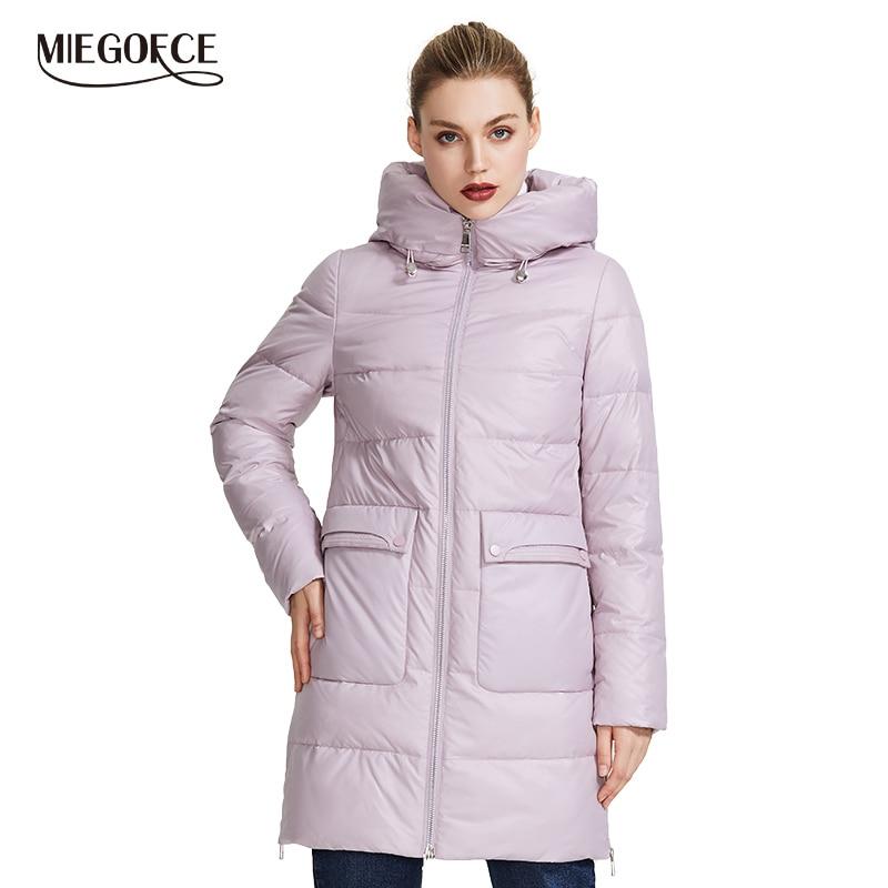 Miegofce 2019 casaco de inverno feminino jaqueta à prova de vento com gola de pé parka de inverno com zíper e bolsos de remendo