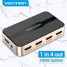 Vention HDMI ספליטר 4K/30Hz 3D 1 ב 4 מתוך HDMI מתג עבור HDTV Mi תיבת PS4 1x 2/1x4 HDMI Switcher 1 קלט 2 פלט HDMI ספליטר