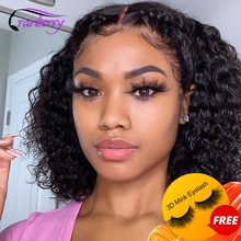 Brazilian Deep Wave Human Hair Bob Closure Wig Natural Hairline Cranberry Remy Hair Short Deep Curly Bob Lace Front Wig 4x4 Lace
