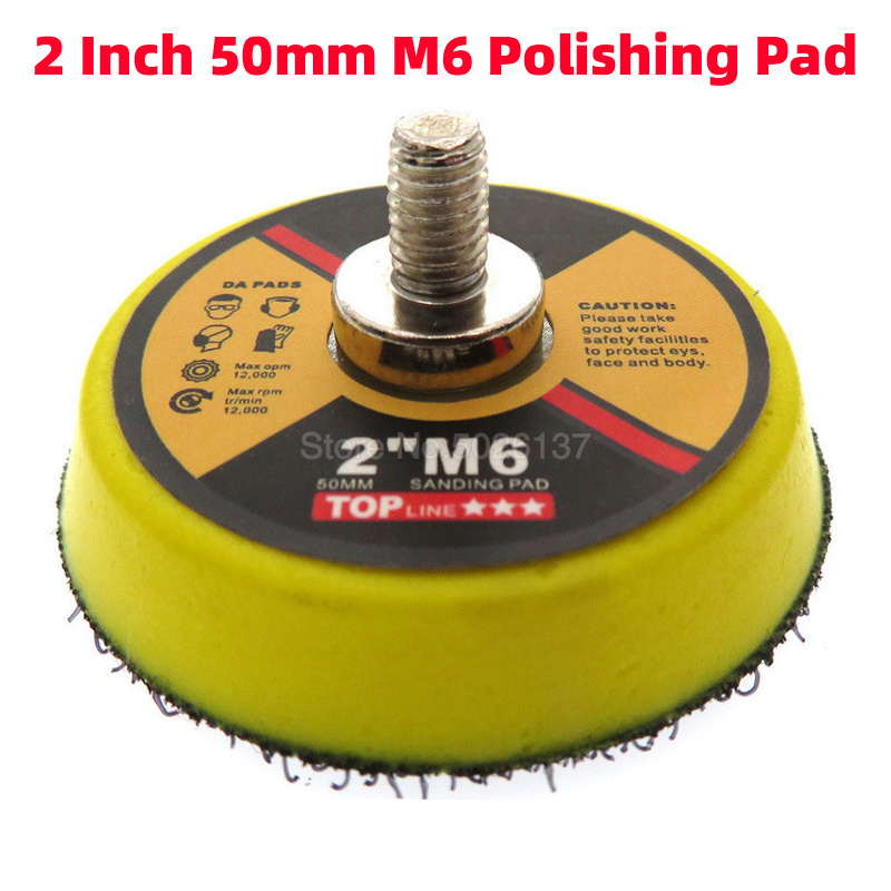 1x 2-Inch 50mm M6 Car Polisher Grinder Wheel Sander Paper Disc Auto Polishing Machine Tool Pneumatic Tray Self-adhesive Pad