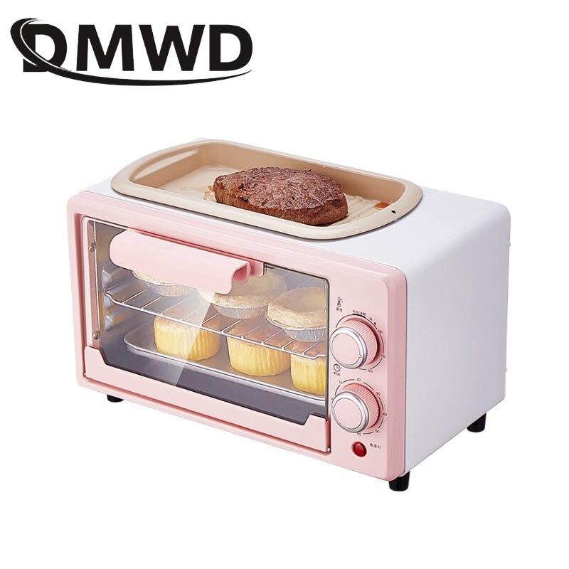 DMWD 5L Мини электрическая духовка для пиццы, гриль, сковорода для яиц, омлет