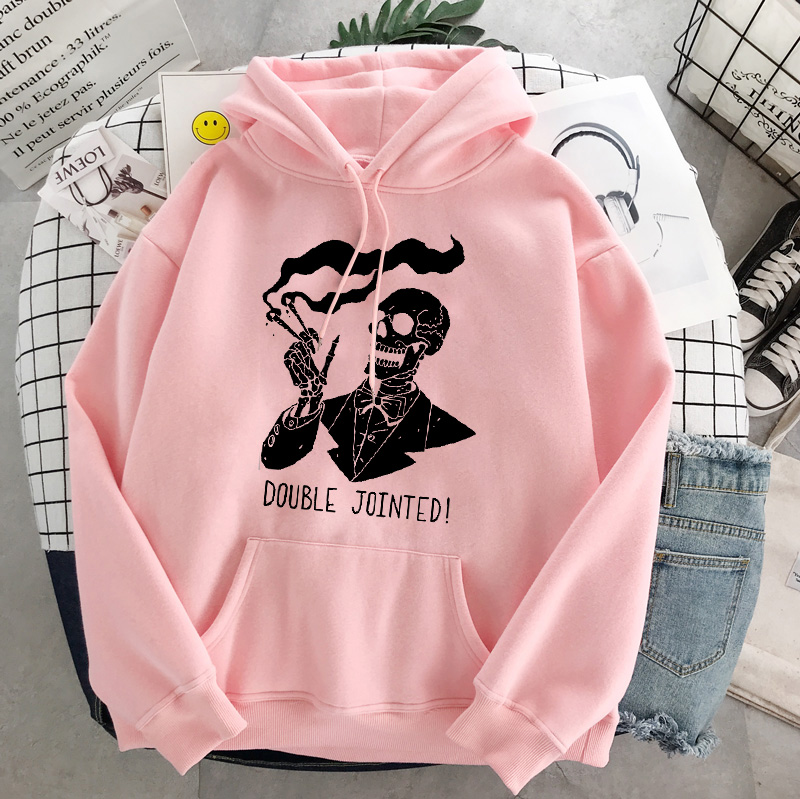 Punk style women's hoodie skull long sleeve casual top goth skeleton dark black 2021 loose ulzzang fashion women's sweatshirt 26