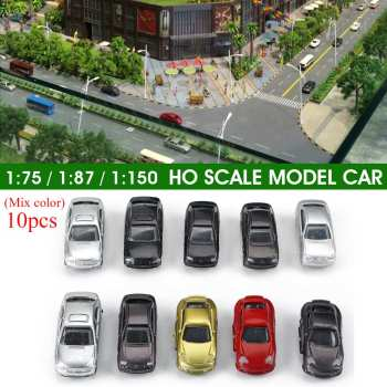 10Pcs 1:75/1:87/1:150 Mixed Color Scale Car Model Building Train Scenery Decor Painted Car Toys Miniature For Diorama Sand Table image