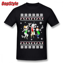 Christmas Ugly Sweater Rick And Morty T-shirt For Men Plus Size Cotton Team Tee Shirt 4XL 5XL 6XL Camiseta(China)