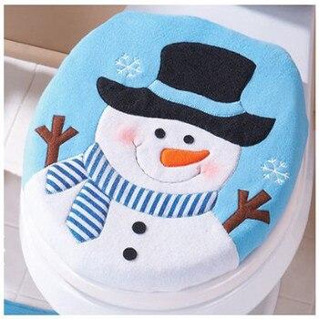Tapa De Inodoro individual De muñeco De nieve para el hogar, decoración navideña, baño, Cubierta De La Tapa Del Inodoro #45