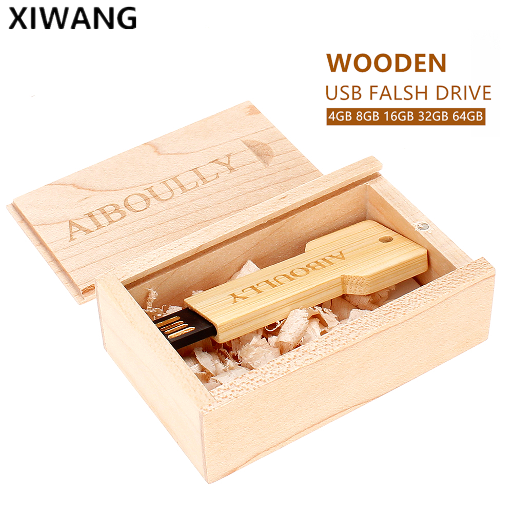 Image 5 - wooden key with box usb flash drive 8Gb 16GB Pendrive 32GB 64GB pen drive 128gb Usb memoria stick Free custom LOGO wedding gifts-in USB Flash Drives from Computer & Office