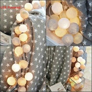 Bola de algodón alimentada por USB, 20 LED, guirnalda de luces de...