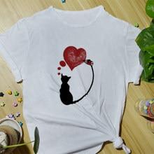Verão feminino algodão camiseta moda casual topo camisetas engraçado impressão dos desenhos animados bonito diário básico manga curta o-pescoço camisas para mulher