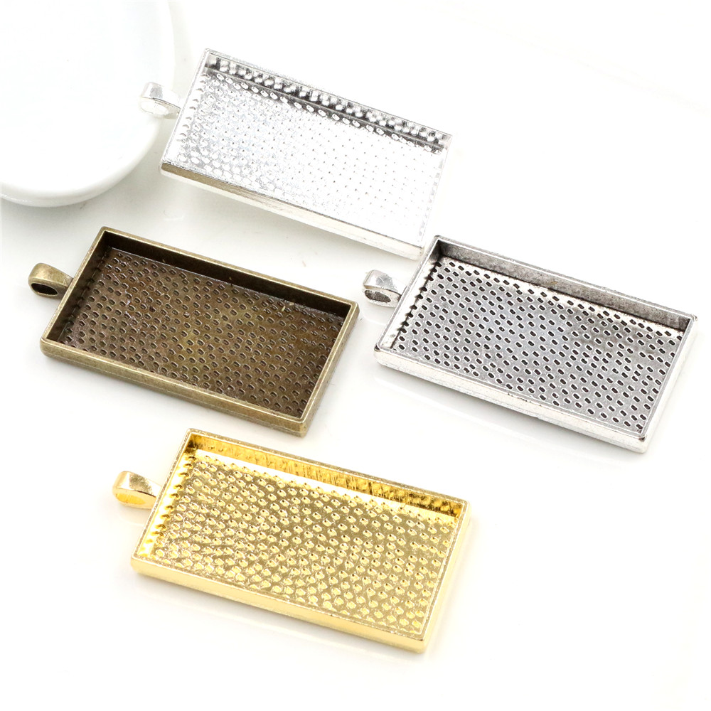3pcs 24x48mm Inner Size 4 Colors Plated Rectangle Cabochon Base Setting Charms Pendant,Fit  24*48mm Rectangle Glass Cabochons