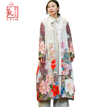 Winter Coat Windbreaker Lined Floral-Printed Female Chinese-Style Vintage Women Warm
