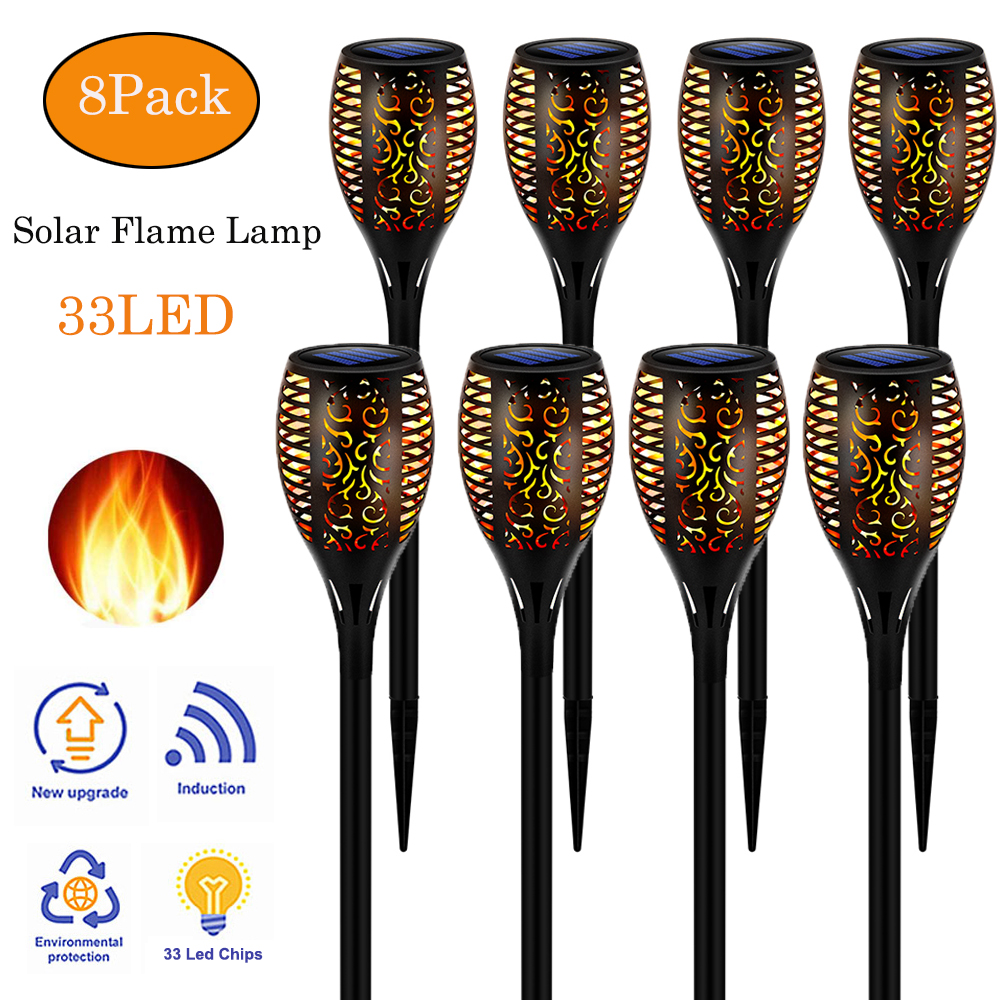 8pack LED Solar Flame Light Lamp Flickering Waterproof Garden Torch Light Decoration Landscape Lawn Path Lamp Outdoor Spotlight