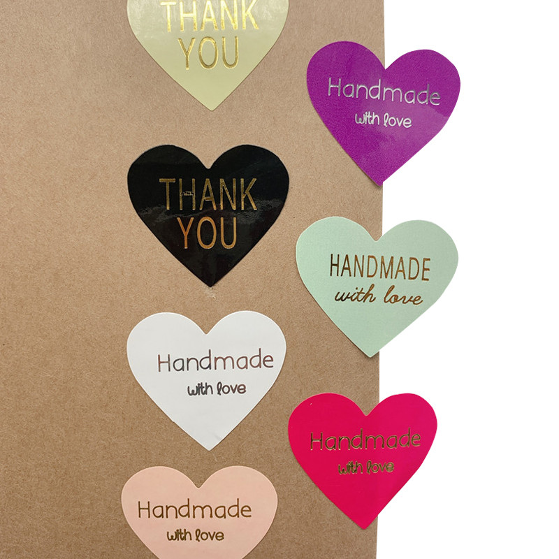 100pcs/lot Thank You Handmade Heart Design Bronzing Seal Multiple Colour DIY Multifunction Seal Sticker Gift Packaging Label