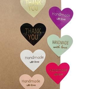100pcs/lot Thank You handmade Heart Design bronzing seal multiple colour DIY Multifunction Seal Sticker Gift Packaging Label