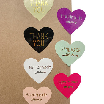 100pcs/lot Thank You handmade Heart Design bronzing seal multiple colour DIY Multifunction Seal Sticker Gift Packaging Label - discount item  41% OFF Stationery Sticker