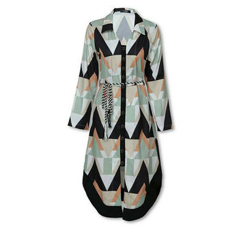 Womens Long Shirt Dress Wave Print Long Sleeve V-neck Casual Autumn Loose High Waist Holiday Midi Dress Vestidos Longo Plus Size 3
