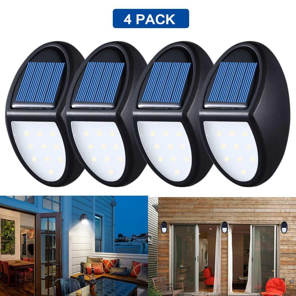 1/2/4 Pcs 600LM 10 LED  Solar Lamps Garden Path Security Outdoor Lighting Wall Street Light IP65 Waterproof PIR Motion Sensor