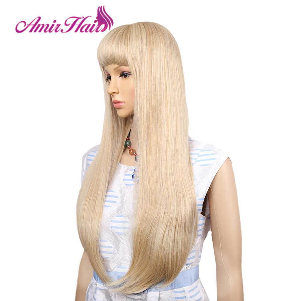 Amir-perruques synthétiques lisses longues blondes claires avec franges, poils Cosplay en Fiber haute température pour femmes noires/blanches
