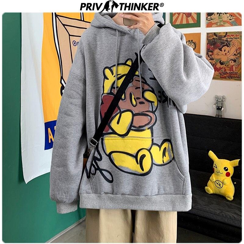 Privathinker Men Carton Printed Streetwear Hoodies 2020 Mens Harajuku Fashions Hooded Sweatshirts Male Pullover Hip Hop Hoodies