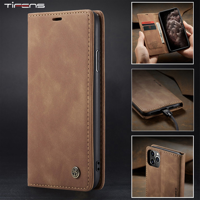 Luxury Magnetic Flip Wallet Case For iPhone 11 Pro XS MAX X XR 8 7 6s 6 Plus 5 5s SE 2020 Luxury Leather Card Slot Phone Cover 1