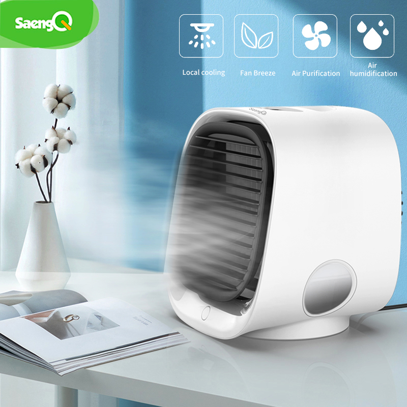 SaengQ Portable Fan Mini Air Conditioner Fan Humidifiers Air Cooler Fans USB Cooler Table Fan For Office Refrigerating Device