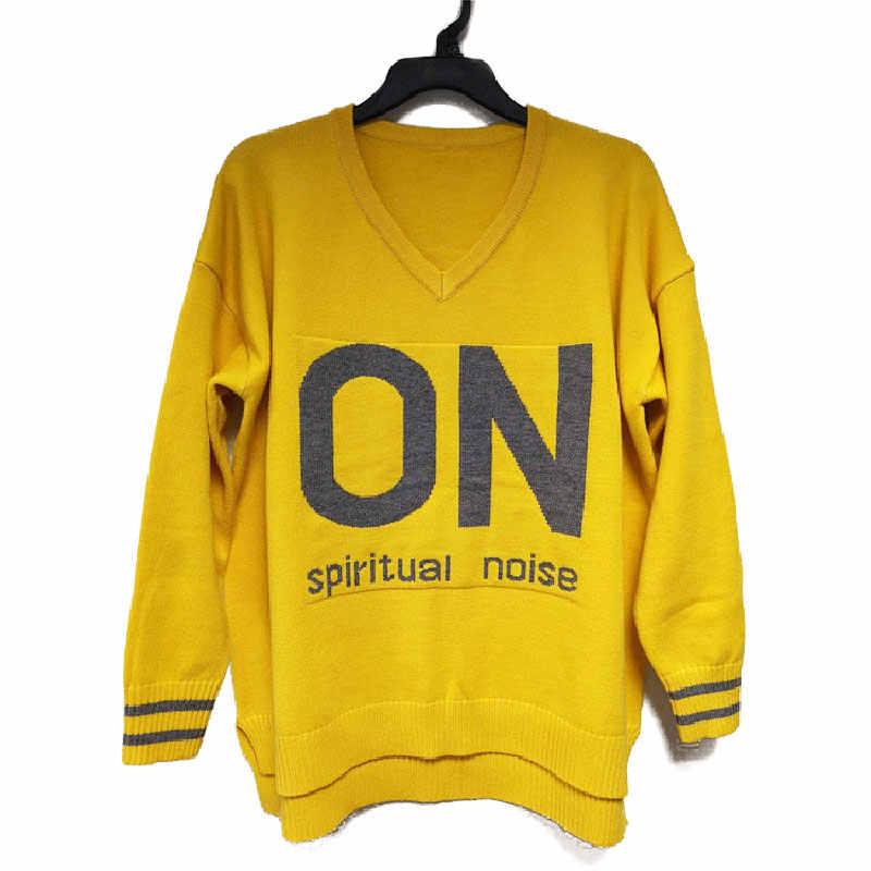 Z długim rękawem kobiet sweter topy na co dzień list sprężyna wysokiej jakości jesień luźny pulower z dzianiny V Neck Streetwear swetry damskie