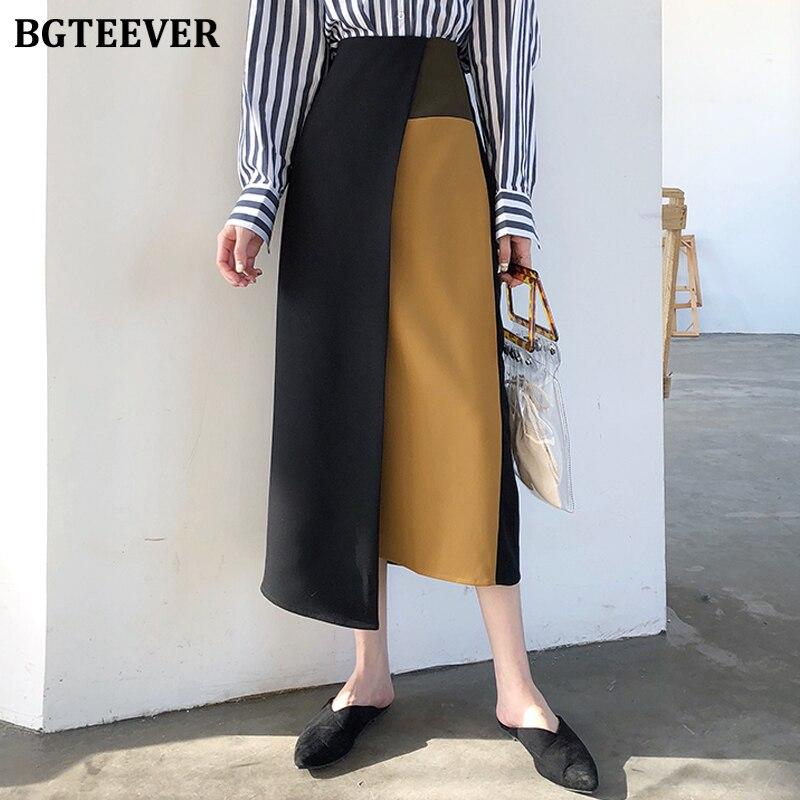 BGTEEVER OL Stil Hohe Taille Patchwork Unregelmäßigen Saum Frauen Rock Chic Hit Farbe Schlank Midi A-linie Röcke Weibliche 2020 Frühling