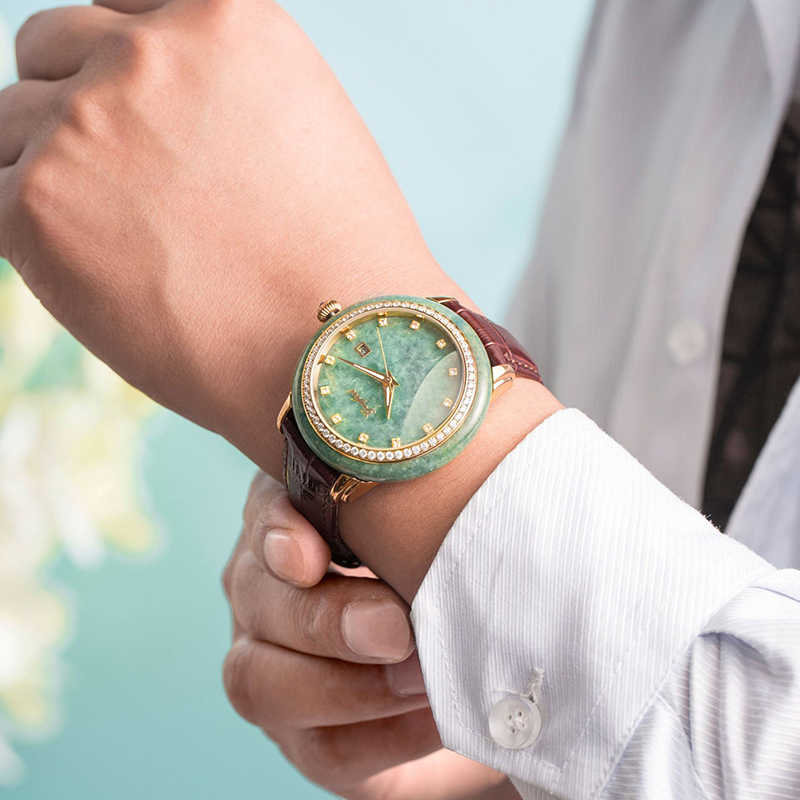 Klasik erkek yeşim mekanik saat saf doğal malzeme su geçirmez erkek saatler Relogio Masculino Montre Homme erkek kol saati